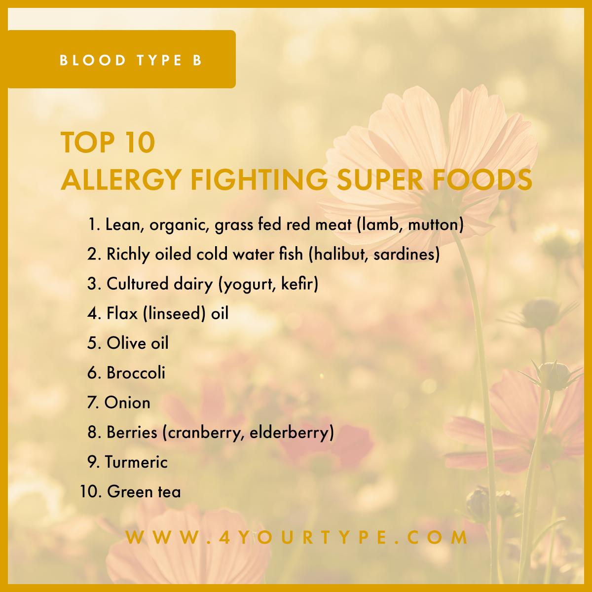 Blood Type B - Seasonal Allergies