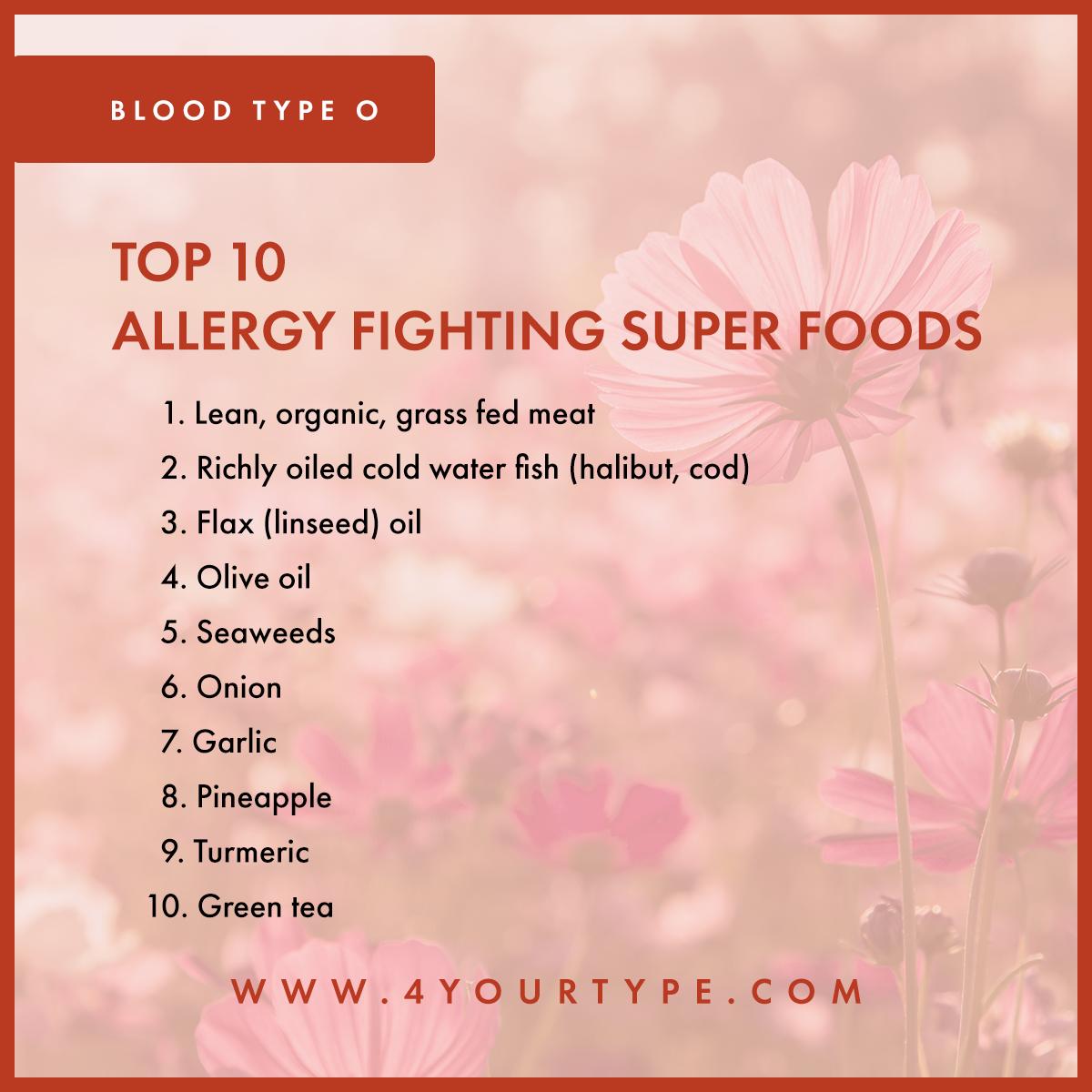 Blood Type O - Seasonal Allergies