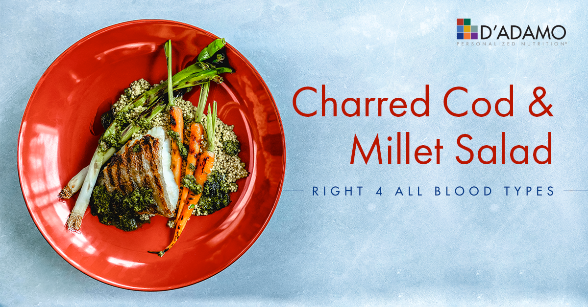 Charred cod with millet, roasted carrots and salsa verde